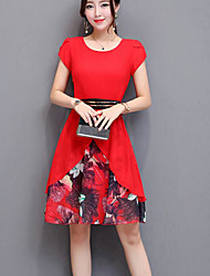cheap -Women's Daily Going out Casual A Line Dress,Floral Round Neck Above Knee Short Sleeves Cotton Summer Mid Rise Micro-elastic Opaque
