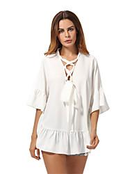 preiswerte -Damen Solide Sexy Ausgehen Hemd,V-Ausschnitt Frühling Sommer 3/4 Ärmel Acryl Dünn
