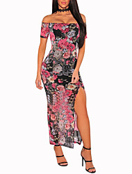 cheap -Women's Party Daily Club Vintage Sexy Boho Bodycon Dress,Floral Color Block Boat Neck Maxi Short Sleeves Polyester Spring Summer High Rise