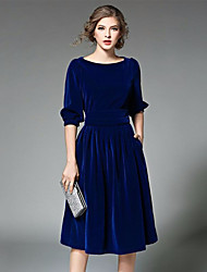 cheap -Women's Club Sexy Lace Dress,Solid Round Neck Knee-length Long Sleeves Wool Winter Mid Rise Micro-elastic Thick
