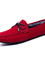 cheap -Men's Shoes Real Leather Fall Winter Fur Lining Comfort Loafers & Slip-Ons Split Joint For Casual Red Black