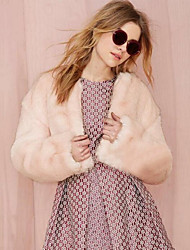 cheap -Women's Daily Simple Casual Winter Fall Fur Coat,Solid Round Neck Short Rex Rabbit Fur