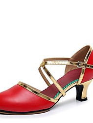 """cheap -Women's Modern Cowhide Outdoor Buckle Chunky Heel White Black Red 2"""" - 2 3/4"""""""