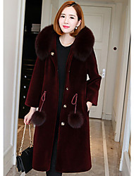 cheap -Women's Vintage Fur Coat-Solid Colored Stand