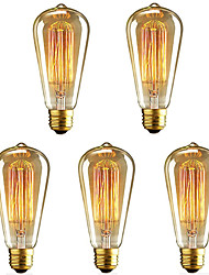 abordables -5pcs 40 W E26 / E27 ST64 Blanco Cálido 2200-2700 k Retro / Regulable / Decorativa Bombilla incandescente Vintage Edison 220-240 V