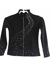 Figure Skating Fleece Jacket Women's Girls' Ice Skating Tracksuit Jacket Black Stretchy Practise Skating Wear Dots Long Sleeves Ice
