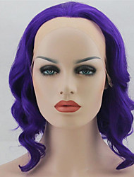 cheap -Women Synthetic Wig Lace Front Short Medium Length Wavy Natural Wave Purple Purple/Blue Lavender Lolita Wig Party Wig Celebrity Wig