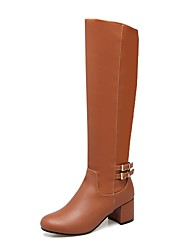 cheap -Women's Shoes Leatherette Fall Winter Fashion Boots Combat Boots Boots Chunky Heel Round Toe Knee High Boots Buckle For Casual Party &
