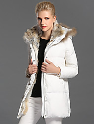 Women's Long Down Coat,Casual Daily Solid-Rabbit Fur White Duck Down Long Sleeves