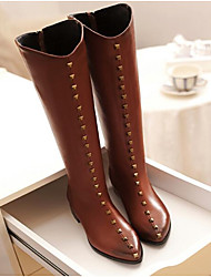 Women's Shoes Nubuck leather Winter Fashion Boots Slouch Boots Boots Flat Heel Knee High Boots For Casual Brown Black