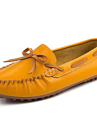 cheap -Women's Shoes Nappa Leather Fall / Winter Moccasin Boat Shoes for Dress Black / Orange / Yellow
