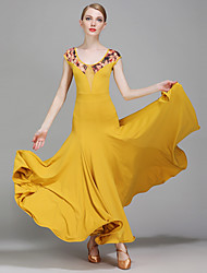 Ballroom Dance Dresses Women's Performance Spandex Tulle Milk Fiber Pattern/Print 1 Piece Short Sleeve Natural Dress