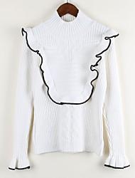 Для женщин На каждый день Обычный Пуловер Однотонный,Воротник-стойка Длинный рукав Шерсть Осень Зима Средняя Эластичная