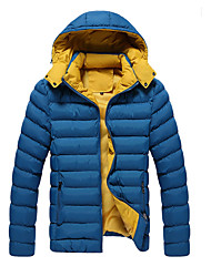 Men's Daily Plus Size Simple Casual Active Winter Fall Jacket,Solid Hooded Long Sleeve Regular Cotton Polyester