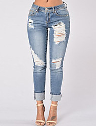 cheap -Women's Jeans Pants - Solid, Ripped