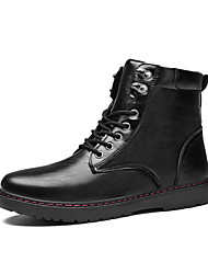 cheap -Men's Shoes Leather Fall Winter Comfort Fashion Boots Combat Boots Boots Lace-up For Casual Outdoor Black
