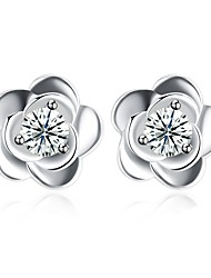 cheap -Women's Stud Earrings Crystal Cubic Zirconia Sterling Silver Zircon Flower Jewelry Wedding Party Costume Jewelry