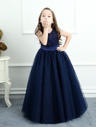 cheap -A-Line Floor Length Flower Girl Dress - Lace Satin Tulle Sleeveless Jewel Neck with Beading Sash / Ribbon by LAN TING BRIDE®