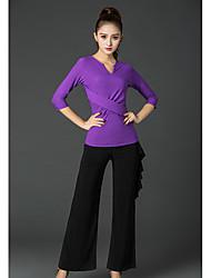 Danse latine Bas Femme Spectacle Soie Glacée Plissé Taille moyenne Pantalon