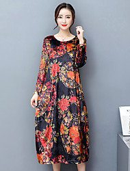 Women's Casual/Daily Simple Shift Dress,Floral Crew Neck Midi Long Sleeves Polyester Spring Fall Low Rise Micro-elastic Medium