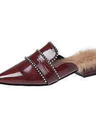Недорогие -Для женщин Обувь Трикотаж Полиуретан Зима Удобная обувь Башмаки и босоножки Заостренный носок Назначение Повседневные Черный