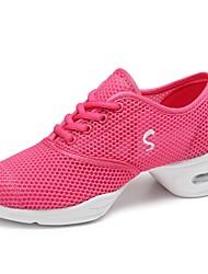 cheap -Women's Dance Sneakers Tulle Sneaker Outdoor Splicing Flat Heel Fuchsia Customizable