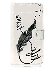 For Case Cover Card Holder Wallet with Stand Flip Pattern Full Body Case Feathers Hard PU Leather for Samsung Galaxy J7 (2017) J5 (2016)
