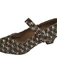 cheap -Women's Modern Sparkling Glitter Sandal Indoor Customized Heel Bronze Red
