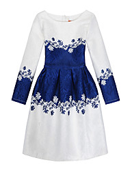 Girl's Daily Holiday Print Dress,Cotton Polyester All Seasons Long Sleeve Cute Casual Blue