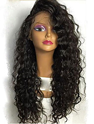 cheap -Human Hair Lace Front Wig / Glueless Lace Front Wig Brazilian Hair Curly Layered Haircut / With Bangs / With Baby Hair 130% Density Natural Hairline / 100% Virgin / Unprocessed Women's Medium Length