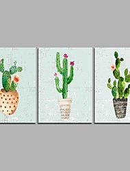 cheap -Hand-Painted Floral/Botanical Horizontal Panoramic,Artistic Nature Inspired Rustic Casual Birthday Modern/Contemporary Office/Business