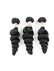 Human Hair Brazilian Bundle Hair Loose Wave Hair Extensions 3 Pieces Black