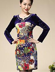 economico -Camicia Vestito Per donna-Per uscire Con stampe Asimmetrico Sopra il ginocchio Manica lunga Velluto Autunno A vita alta Media elasticità