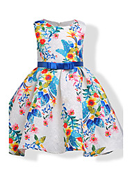 Girl's Birthday Going out Floral Dress,Cotton Polyester Summer Fall Sleeveless Floral White