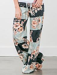 economico -Da donna A vita medio-alta Media elasticità Dritto Chino Pantaloni della tuta Pantaloni,Fantasia floreale Monocolore Poliestere Primavera