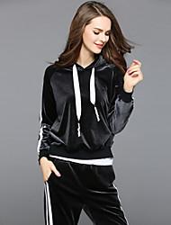 Sweat à capuche Pantalon Costumes Femme,Couleur Pleine Rayé Sports Décontracté / Quotidien simple Automne Manches longues Extensible