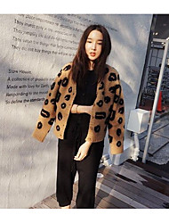 cheap -Women's Daily Short Cardigan,Leopard V Neck Long Sleeves Acrylic Winter Fall Medium Micro-elastic