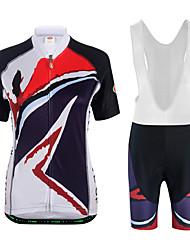 economico -Per donna Manica corta Maglia con salopette corta da ciclismo - Bianco Nero Bicicletta Set di vestiti