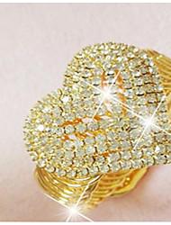 cheap -Women's Cubic Zirconia Rhinestone Gold Plated Heart Cuff Bracelet - Statement Gold Bracelet For Wedding Party