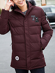 cheap -Men's Regular Padded Coat,Casual Daily Going out Plus Size Solid-Polyester Polypropylene Long Sleeves