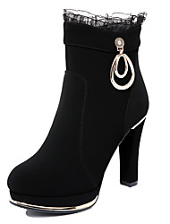 cheap -Women's Shoes Synthetic Fall / Winter Fashion Boots / Bootie Boots Booties / Ankle Boots Black / Wine / Party & Evening