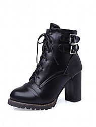 cheap -Women's Shoes PU Leatherette Fall Winter Comfort Novelty Fashion Boots Boots Chunky Heel Round Toe Booties/Ankle Boots Lace-up For Party