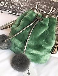 Women Bags Fur Shoulder Bag Pockets Zipper for Winter Black Military Green Light Grey