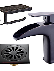 cheap -Centerset Waterfall Ceramic Valve Single Handle One Hole Oil-rubbed Bronze , Bathroom Sink Faucet