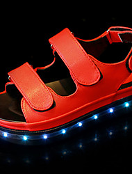 Women's Shoes PU Summer Light Up Shoes T-Strap Comfort Jelly Shoes Sandals Flat Heel Round Toe Hook & Loop For Casual Red Black White