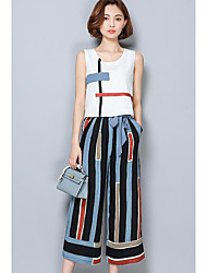 cheap -Women's Going out Street chic Summer Tank Top Pant Suits,Solid Striped Round Neck Sleeveless Backless Cotton Inelastic