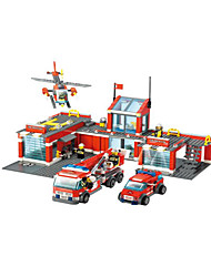 cheap -Building Blocks Fire Engine Vehicle Helicopter Toys Plane / Aircraft Helicopter Architecture Fire Engines Vehicles Boys 774 Pieces