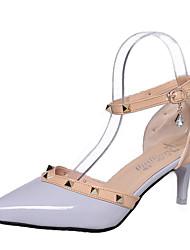Feminino Sapatos Couro Ecológico Primavera Verão Conforto Sandálias Salto Baixo Para Casual Preto Cinzento Vermelho Rosa