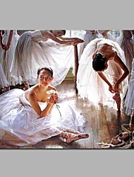 cheap -Hand-Painted People Horizontal, Artistic Birthday Cool Office/Business Modern/Contemporary New Year's Christmas Canvas Oil Painting Home