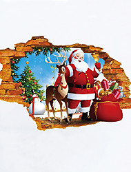 cheap -Christmas Cartoon People Wall Stickers 3D Wall Stickers Decorative Wall Stickers,Vinyl Material Home Decoration Wall Decal